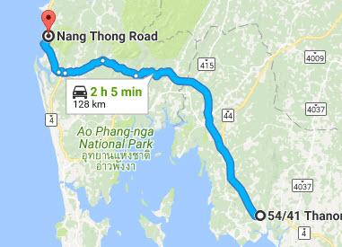 map from krabi to khao lak