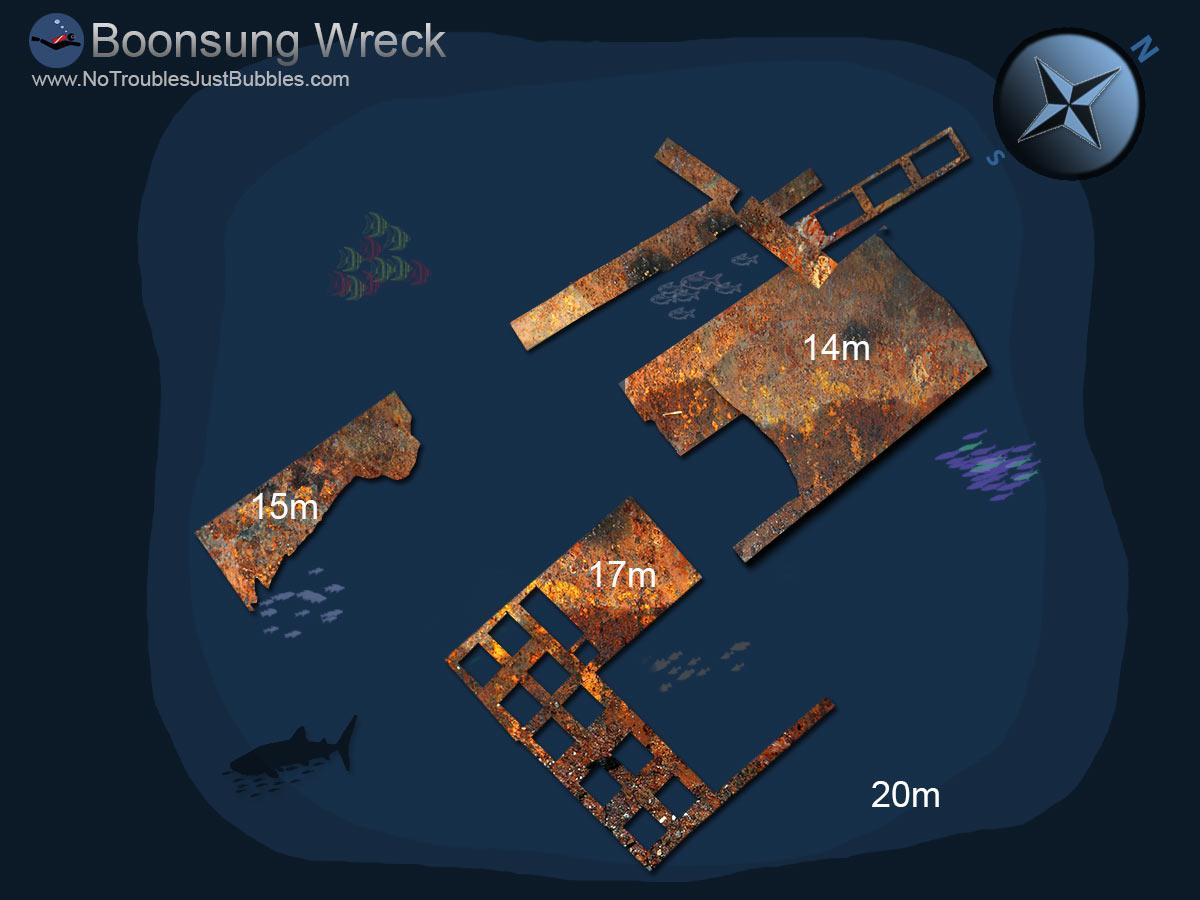 Boonsung wreck scuba dive site map