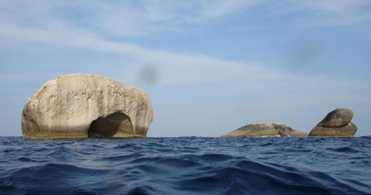 elephant head rock above the surface